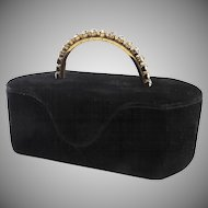 Vintage Velvet MORRIS MOSKOWITZ Box-Purse Bag Rhinestone Handle
