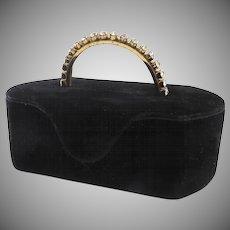 Vintage Velvet MORRIS MOSKOWITZ Box-Purse Bag Rhinestone Handle