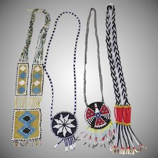 Four (4) Vintage Native American Style Thunderbird Beaded Long Necklaces Hippie Boho