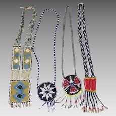 Four (4) Vintage Native American Style Thunderbird Beaded Long Necklaces Hippie Boho