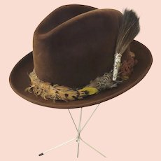 Vintage 1960's 1970's Dobbs Golden Coach Fedora Hat and Hat Box Feather Band Chocolate Brown Color F.354
