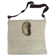 Vintage Mohair Purse with Agate Clasp Boho