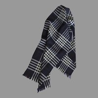 Vintage 1950's Wool Plaid Scotland Tartan Fringes Scarf