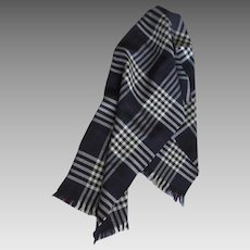 Vintage 1950's Wool Plaid Scotland Tartan Fringes Scarf