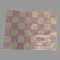Vintage Pink and White Checker Board Doll Quilt