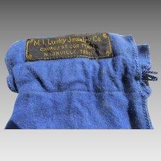 Vintage Felt Silver Storage Bag M. I. Lusky Nashville, Tennessee