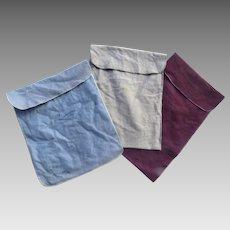 Vintage Group of Three (3) Silver Felt Storage Bags