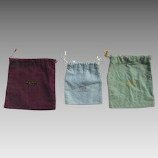 Vintage Group of Three (3) Silver Felt Storage Bags Smith Patterson Traub Bros & Co Jordan Marsh