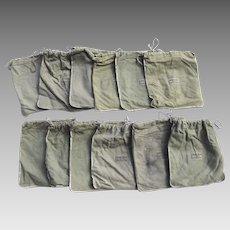 Group of 12 Vintage Felt Drawstring Silver Storage Bags Jensen & Jeck Co. Nashville, Tennessee