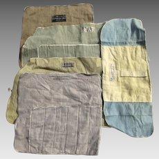 Group of (5) Five Vintage Felt Silver Flatware Storage Bags Rolls