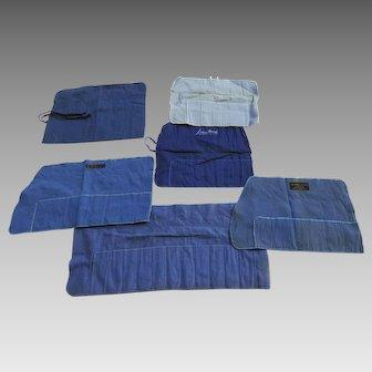 Group of 6 Vintage Felt  Silver Storage Bags Flatware