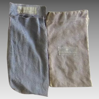 Two Vintage Felt Silver Glass Storage Bags Steuben John Wanamaker