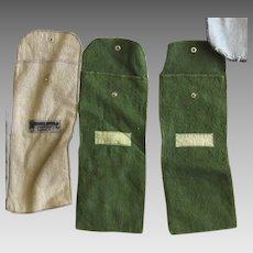 Three Vintage Felt Silver Storage Bags Long Narrow Jaccard Kansas City Wright Kay & Co