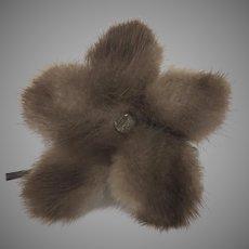 Vintage Mink Rhinestone Brooch Flower Flourish