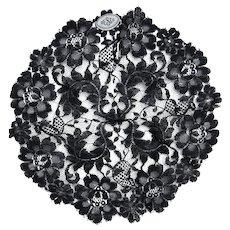Vintage DESCO Made in France Black Lace Mantilla Scarf Un-used