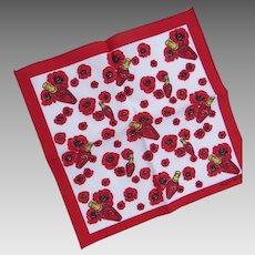 Escada Pocket Scarf Promo Red White Poppies Beauté Perfume Cotton New 80's