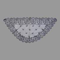 Vintage Mantilla Scarf Church Head Covering Black Lace Net Tambour