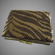 Vintage Whiting & Davis Mesh Tiger Print Wallet Coin Purse