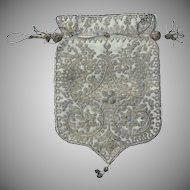 Vintage Ottoman Turkish Embroidered Silver Thread Purse Reticule Late 19th Century