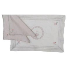 Vintage Luxury Breakfast Tray Linens Madeira Linen Organdy Embroidered Breakfast Set