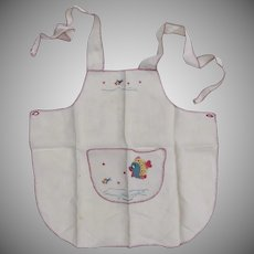 Vintage Small Apron Embroidered Fish Motif