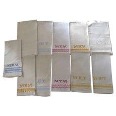 Group of 11 Hand Tea Towels Hand Towel Cross Stitch Beautiful Work