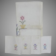 Vintage Cross Stitch Bridge Tablecloth and Napkins Flowers in Flower Pots