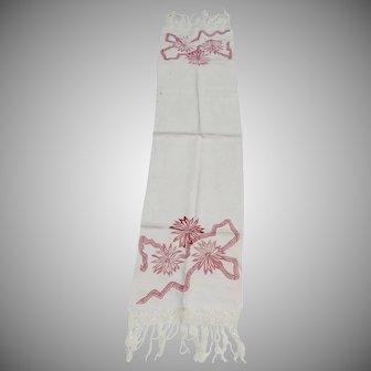 """68"""" Long Vintage Table Runner Dresser Scarf Pink Embroidered Ribbon Flowers Fringe"""