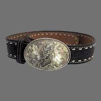 """Vintage Rockmount Western Tooled Black Leather Belt and Buckle Denver, Colorado 28"""""""