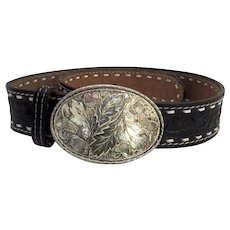 Vintage Rockmount Western Tooled Black Leather Belt and Buckle Denver, Colorado 28""