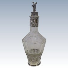 Silver Overlay Dutch Windmill Stopper Panel Glass Decanter
