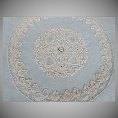 Vintage Un-finished Organdy Embroidered Doilies and Centerpiece Fine Work 1900's Re-Purpose