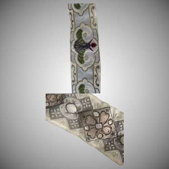 """Two 30"""" by 1 1/2"""" 1900's Fabulous Ribbon Padded Re-Purpose"""