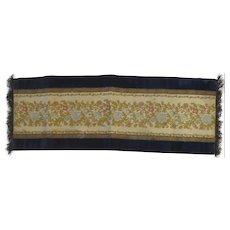 Vintage Brocade Velvet Table Runner Metallic Fringe Doilie