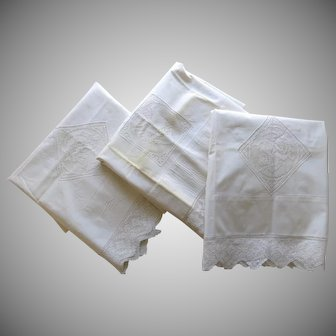Vintage (3) Cotton Pillowcases Crochet Heart