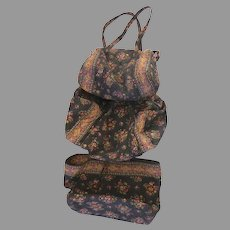 Retired Vera Bradley Chocolat Three Piece Luggage Tote Duffle Set