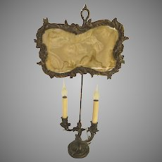 19th Century French Silvered Brass Rococo 2-Arm Candelabra
