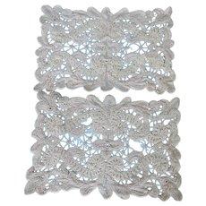 Two Vintage Crochet Doilies Rectangle Nice Work