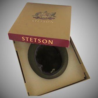 Stetson Fedora Homburg Hat Mr. Carefree Style Original Box Loden Green