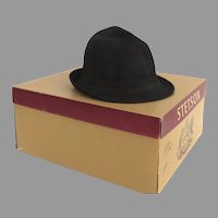 Vintage Stetson Black Fedora Homburg Hat Mr. Carefree Style Original Box