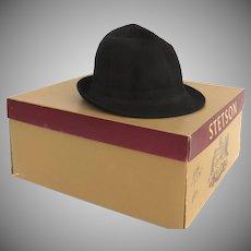 Vintage Stetson Black Fedora Homburg Hat Mr. Carefree Style Original Box