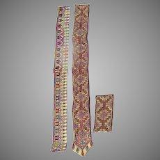 Vintage Older Syrian Cross Stitch Embroidered Trim Pieces