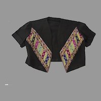 Vintage Older Bolero Jacket from Damascus Cross Stitch Embroidery Syrian