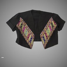 Vintage Older Bolero Jacket from Damascus Cross Stitch Embroidery Syrian