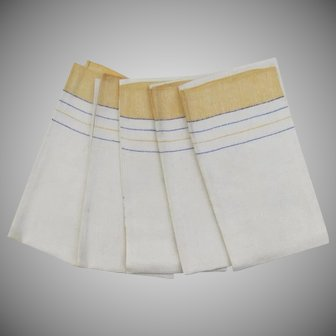 Vintage Nice Linen Country Kitchen Hand Dish Towels Yellow Blue