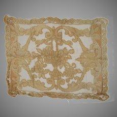 Vintage Net Tambour Lace Pillow Case As Is Study Repair