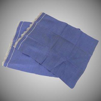 Two Vintage Boudoir Pillow Cases Fine Cotton Crochet Lace Blue