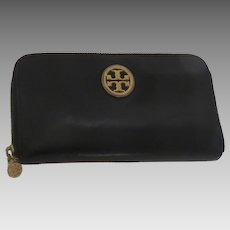 Vintage Continental Tory Burch Zip Around Black Classic Leather Wallet