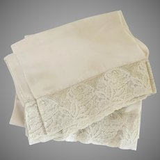 Vintage Rayon Ecru Lace Edged Pillowcases As Is