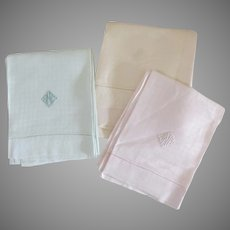 3 x Large Damask Hand Towels Sherbet Colors Pink Peach Mint